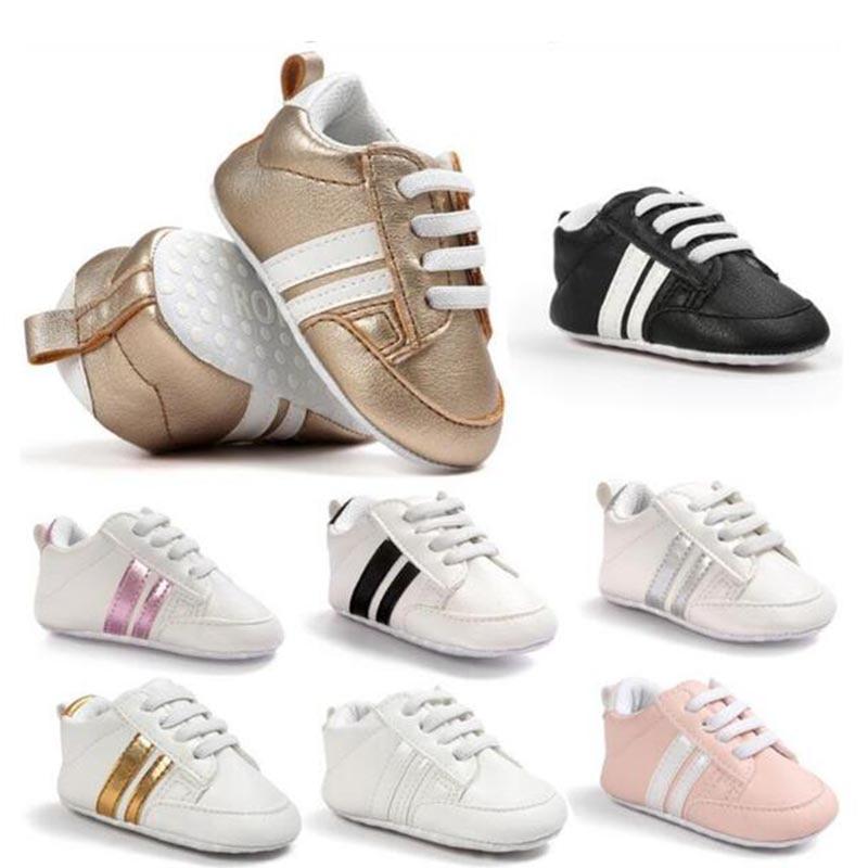 Chaussures bébé chaussures en cuir Pu baskets de sport nouveau-né bébé garçons filles chaussures à rayures pour bébé en bas âge chaussures antidérapantes souples