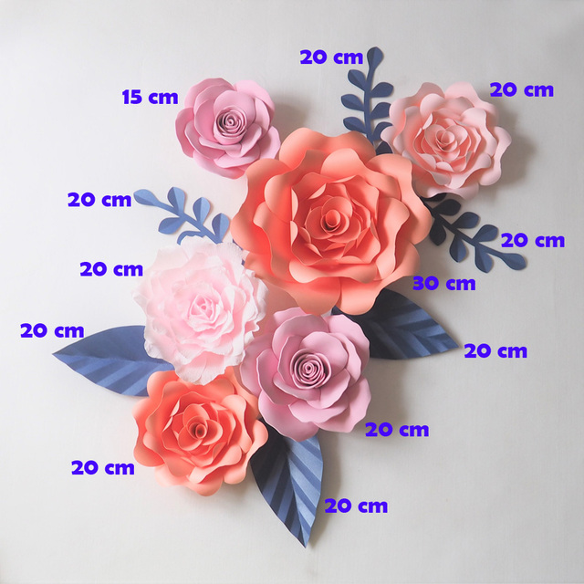 Giant paper flowers backdrop artificial handmade crepe paper rose giant paper flowers backdrop artificial handmade crepe paper rose 6pcsleaves 6pcs for wedding mightylinksfo