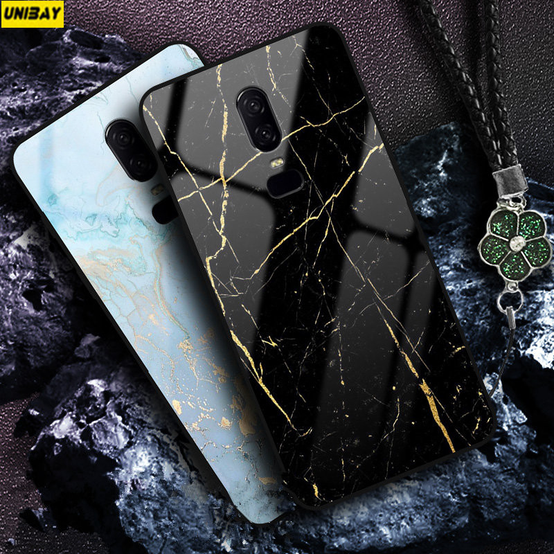 on sale 1534f 17a51 US $14.98 |Oneplus 6 case hard shock proof one plus 6t a6000 Tempered Glass  Back Cover 9H Anti explode oneplus 6 case stone Color element-in Fitted ...