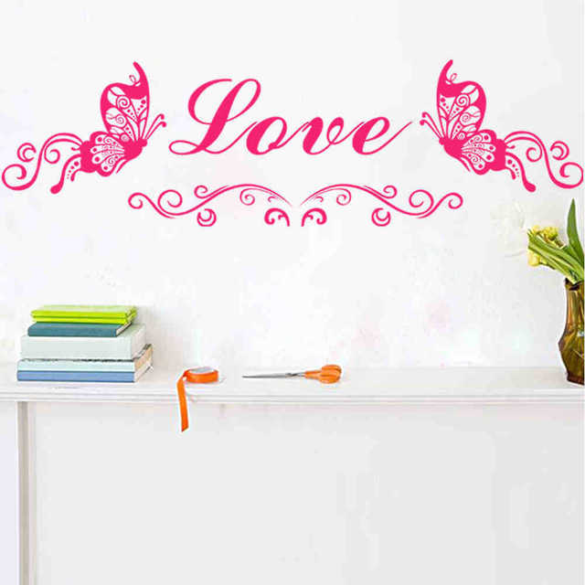 Us 12 5 Can Add Name Vinyl Wallpaper Diy Wall Decals Butterfly Wall Stickers Quotes Painting Wall Art Bedroom Decor Wall Stickers In Wall