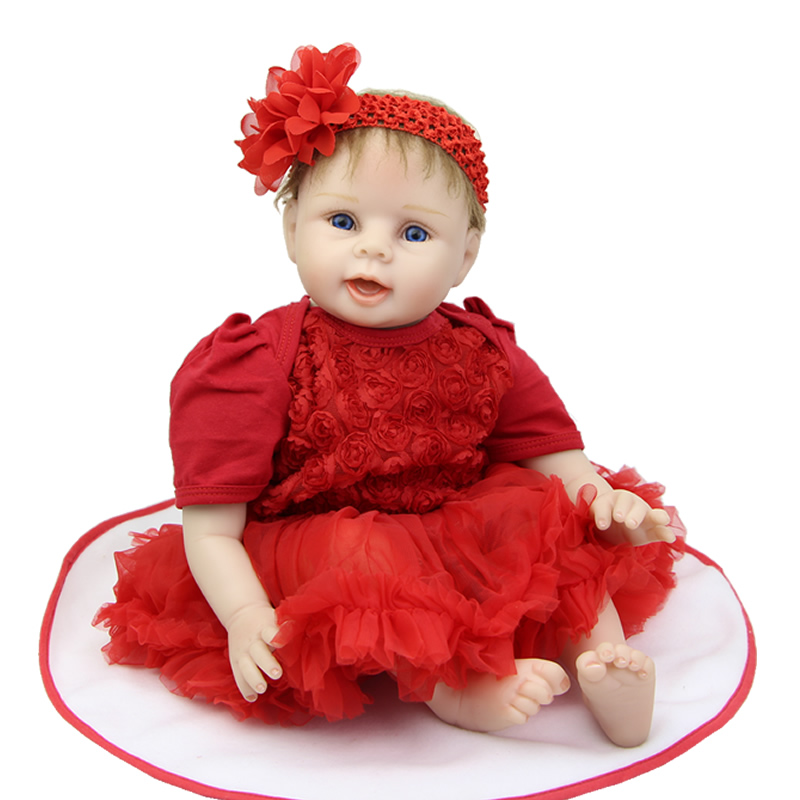 With Rooted Mohair 22 inch Lifelike Silicone Reborn Baby Doll Newborn Babies Toys With Red Dress Set Playmate For Kids oasis mohair