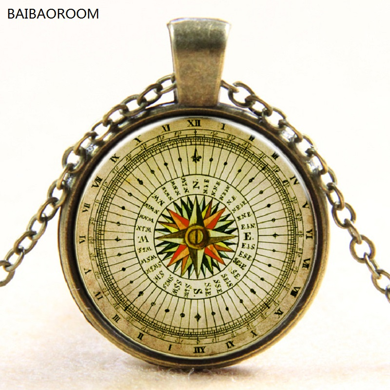 Gem vintage compass time Europe and the new silver plated pendant necklace glass stones