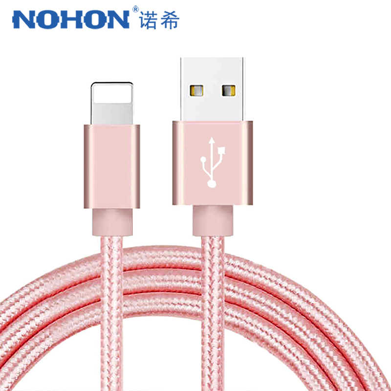 NOHON USB de Nylon rápida Cable de carga para Apple iPhone XR XS MAX X 8 7 6 S 5S 5 6 cables de datos de carga de iluminación para ipad mini