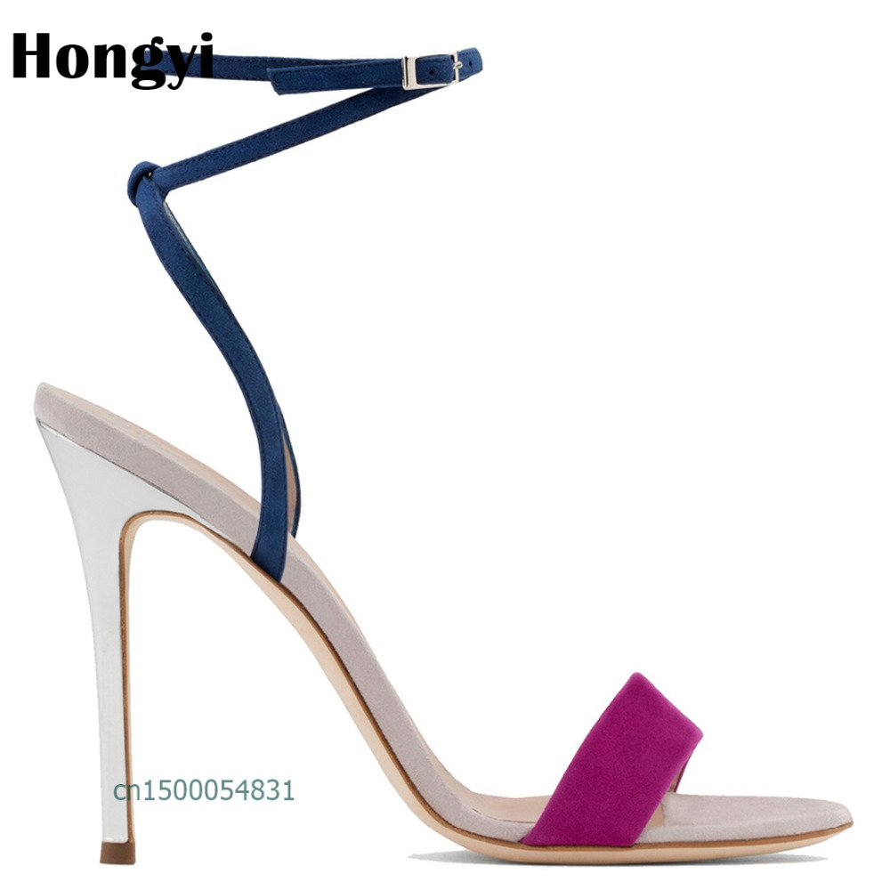 Hongyi Woman Shoes 2018 summer Concise Flock women sandals Straps sandal heels Thin high heels sandals sandalias de salto alto