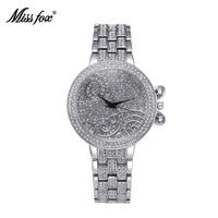 MissFox Quartz Ladies Wristwatch 37mm Lucky Clouds Role Watches Women Gold Full Diamond Luxury Brand Casual Dress Relojes Mujer