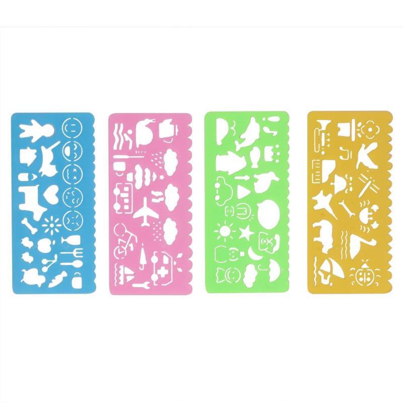 4pcs Stencil Children Drawing Template Ruler Cute Cartoon Plastic Hollow Caliper Bookmark Painting Art Learning Stationery