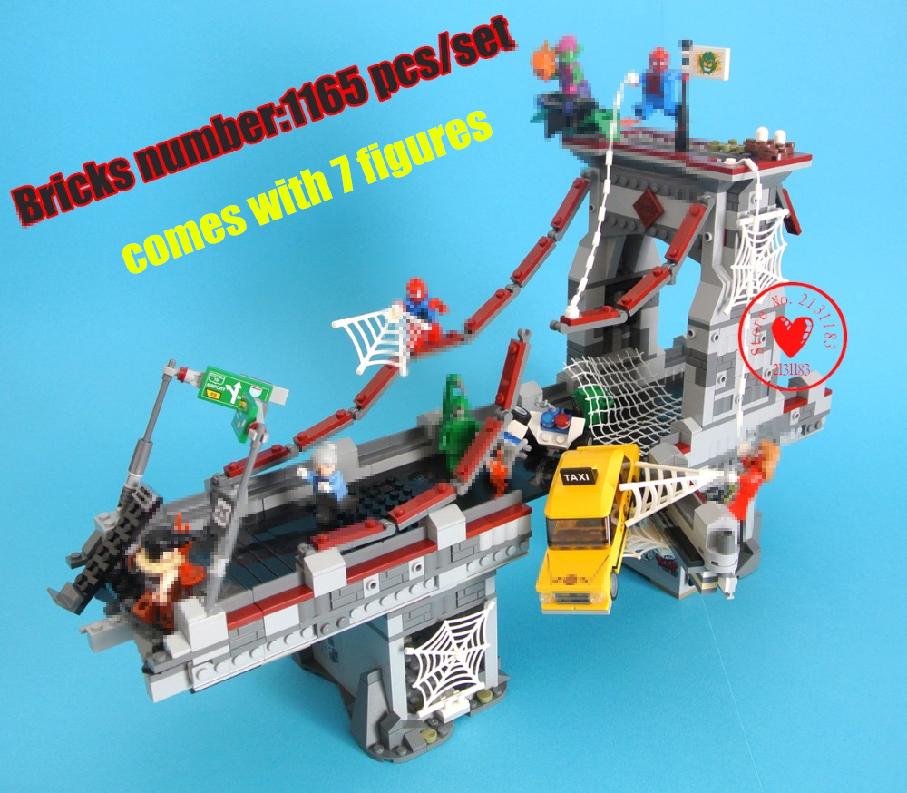 07038 Super Hero Spider Man web lepin Ultimate Bridge Battle model Building Blocks Toys Marvel Compatible legoes kid gift set