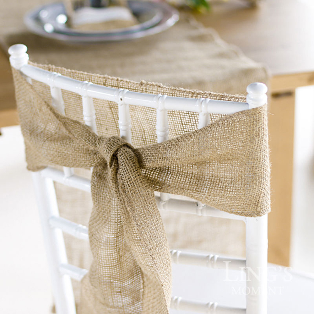 5Pcs Naturally Elegant Burlap Chair Sashes Jute Chair Tie Bow for Rustic Wedding Decorat ...