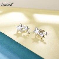 Silver Triple Star Ear Climber Earrings 925 Sterling Silver Simple Minimalist Three Star Stud Earrings For Women E6038B