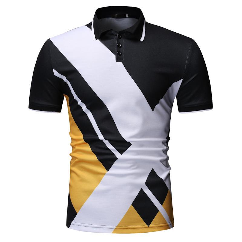 Stripe   Polo   Shirt Men Summer Tops Fitness clothing Men   Polo   Shirt Short sleeve Leisure Lapels Tees Fitness clothing Summer