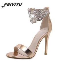 FeiYiTu  Women Sexy 11.5CM Heel Sandals Crystal High Heel Rhinestone Ankle Wrap Strap Open Toe Pumps Stiletto Wedding Shoes