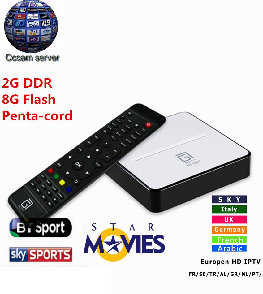 Prix pour GOTiT GT2017 Android DVB-S2 Récepteur Satellite avec 1 Année Europe Espagnol CCcam 4 clines 2/8G DDR et Flash