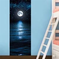 1 PZ Adesivi Murali FAI DA TE Affresco Camera Da Letto Camera Da Letto Home Decor Poster Europea Luna notte Porta Autoadesivo Carta Da Parati #