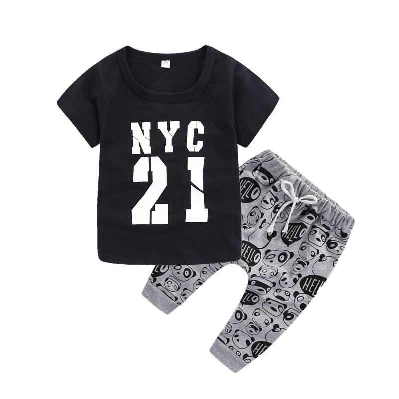 Newborn clothes short sleeve t-shirt cotton top with casual pants 2pcs/set hot sale clothing set bebes clothes summer clothes