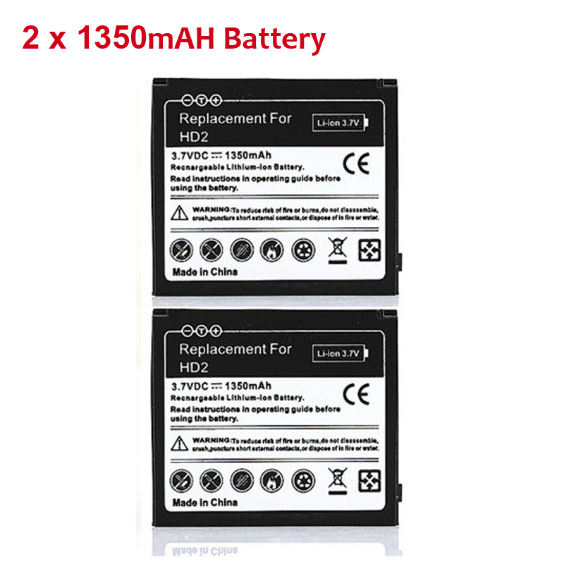 2X Phone Replacement 1350mAh Battery Batteries For <font><b>HTC</b></font> <font><b>HD2</b></font> Touch <font><b>HD2</b></font> <font><b>T8585</b></font> <font><b>HTC</b></font> LEO Cell Phone Rechargeable commercial Bateria image
