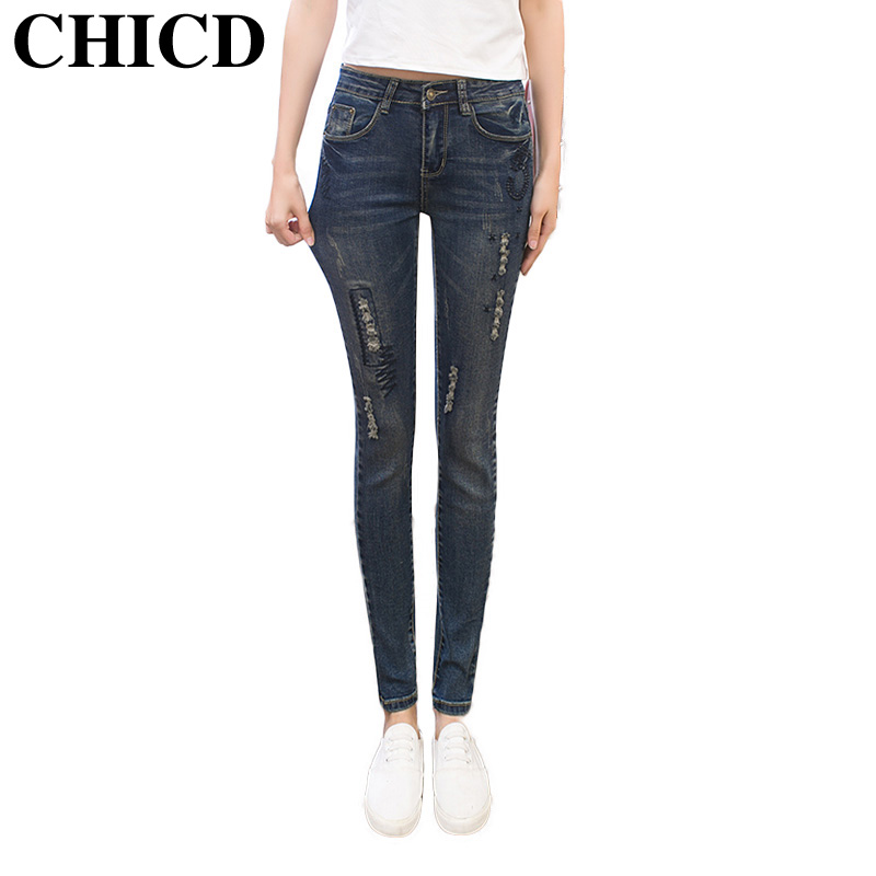 CHICD 2017 Women Skinny Jeans New Spring Autumn Fashion Pencil Pants Denim Slim Blue Frayed Mid Waist Jeans XP305 hot sale skinny jeans woman spring new pencil jeans for women fashion slim blue jeans mid waist women s denim pants trousers