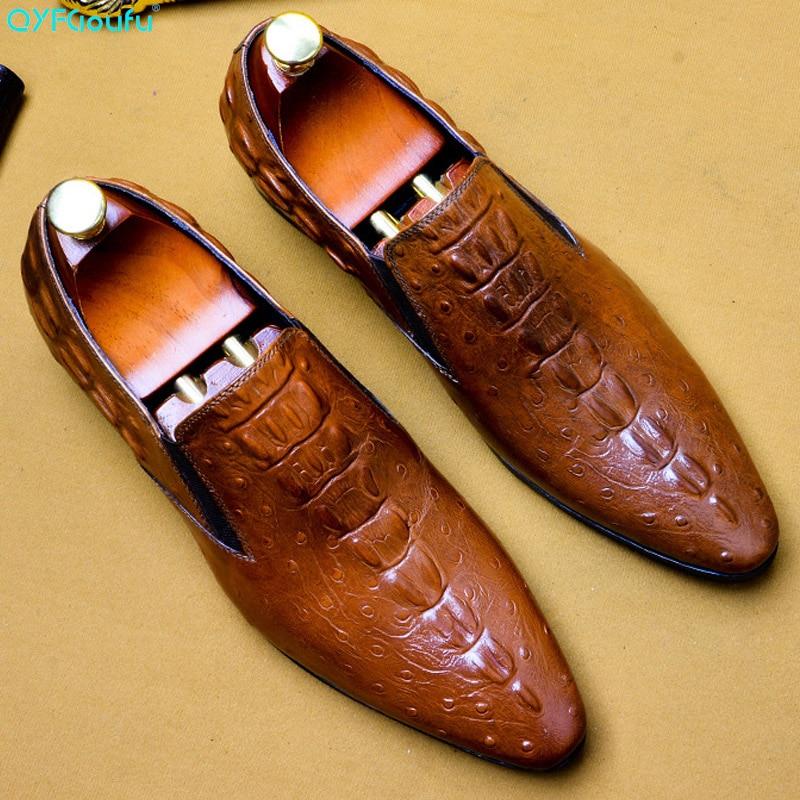Festa de Casamento Sapatos para Homens de Couro Qyfcioufu Artesanal Itália Moda Crocodilo Sapatos Oxford Genuíno Vestido Derby 2020 Mod. 182977