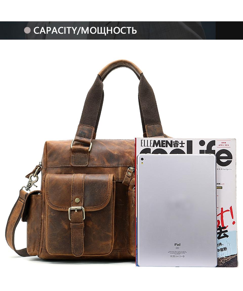 MVA Genuine Leather Men's Briefcase Messenger Bag Men's Leather Laptop Bag For men Office Bags For Men Briefcase Handbags 8537