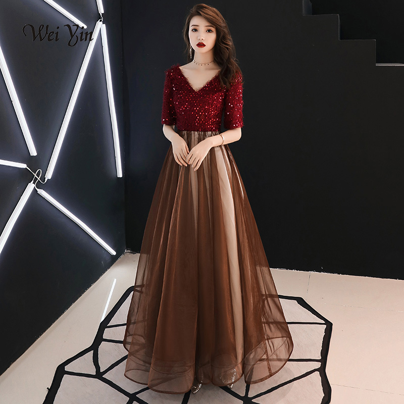 weiyin Elegant Sequined Evening Dresses Long V-Neck Evening Gowns Long Party Gowns Robe De Soiree Sexy Formal Dresses WY1044