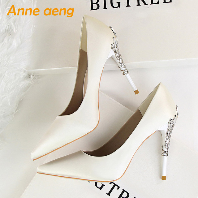 2019 New Women Pumps High Thin Heel Pointed Toe Shallow Sexy Ladies Bridal Wedding Women Shoes White High Heels Female Pumps