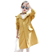 New Fashion Teenager Girls Trench Spring Antumn Yellow Kids Coats Brand Hooded Outerwear for Children Clothing 3-15years