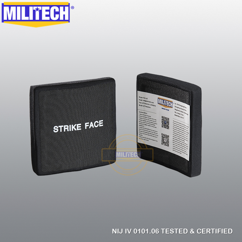 MILITECH 6'' X  6'' Two Pieces Alumina & PE NIJ Level IV Bulletproof Side Plate Al2o3 + PE NIJ IV Stand Alone Ballistic Panels