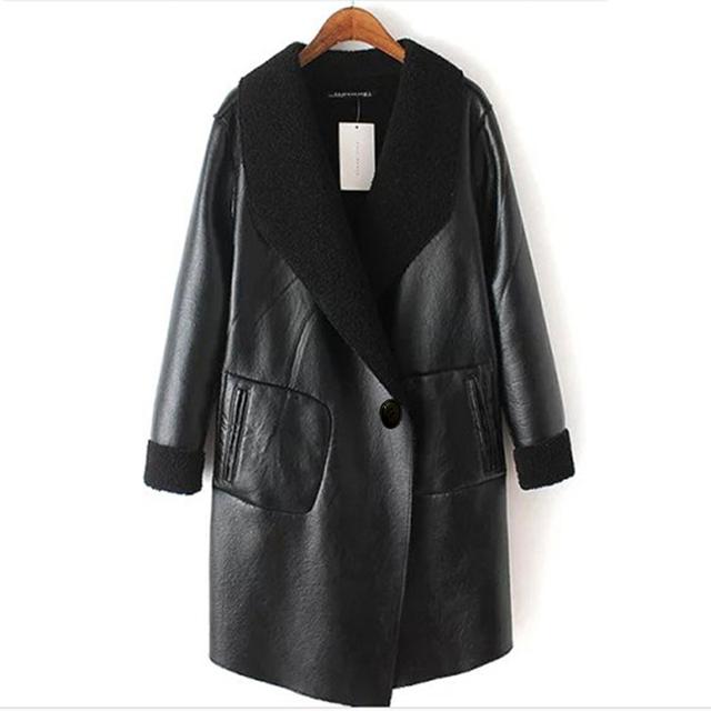 Lã de cordeiro jaqueta de couro plus size 2016 outono e inverno as mulheres de pele de cordeiro jaqueta de couro casaco casacos femininos XL-6XL