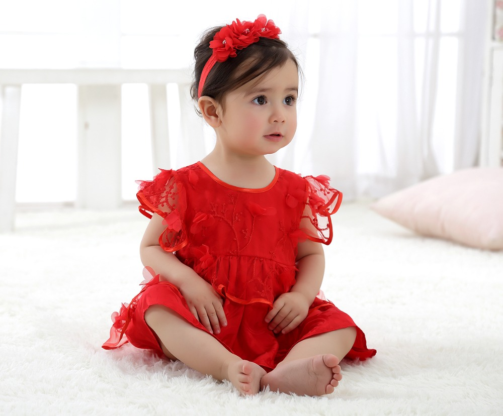 New Fashion 2017 Baby Girls Princess Dress  Newborn Infant Ball Gown Clothes Summer Elegant Princess Red Birthday dress princess girls dress 2017 new fashion spring
