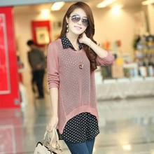 Free Shipping Ladies Elegant Hollow out sweater shirt chiffon Blouse twinset