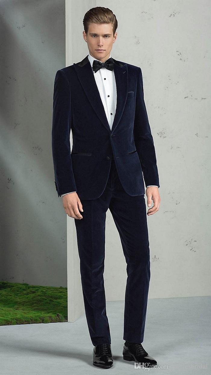 11681061f 2017 Fashion Navy Blue Velvet Groom Tuxedos Italian Style Tailor Made Mens  Wedding Party Suits Bridegroom Suit(Jacket+Pants)