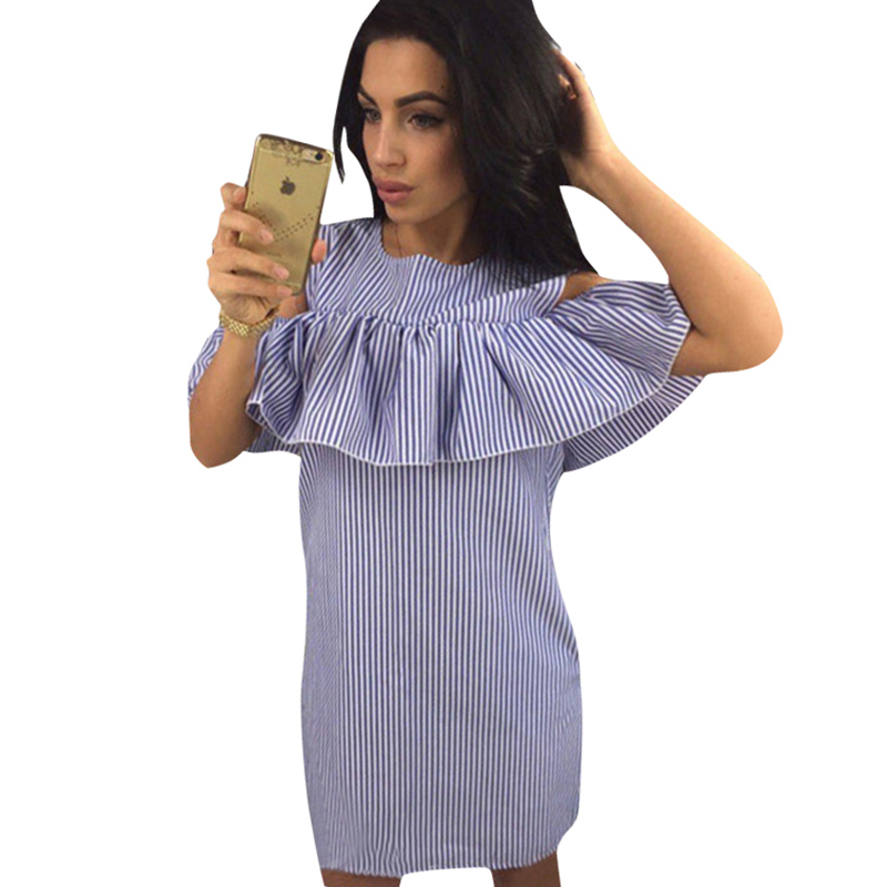 Cold Shoulder Ruffles Blue Striped Summer Dress Women 2018 Casual O-Neck Straight Mini Short Dresses Butterfly Sleeve Vestidos
