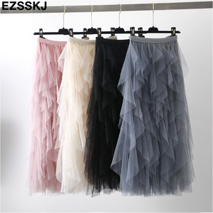 Image 2 - Elegante falda de malla irregular para mujer, nueva falda de pastel de tutú multicapa primavera otoño 2019, falda larga de tul esponjosa con volantes para mujer