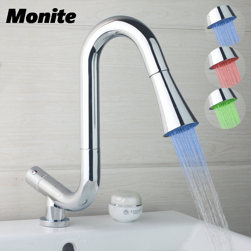 DE Pull Out & Pull Down Kitchen Basin Sink Faucet LED Light Hot & Cold Water Mixer Tap Deck Mounted Tap Chrome Brass new pull out swivel chrome brass kitchen faucet spout vessel basin sink single handle deck mounted mixer tap mf 446