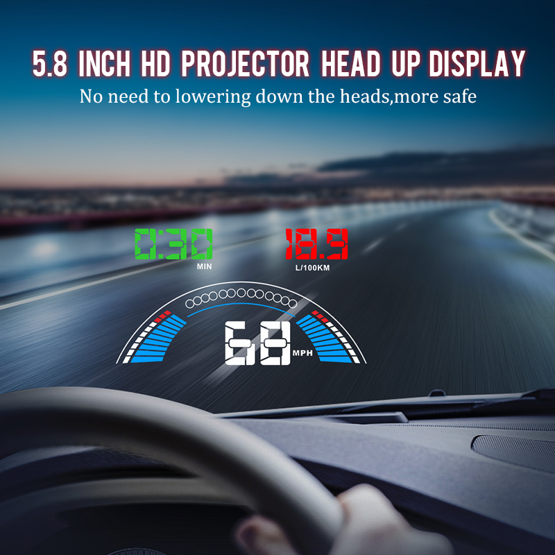 "Image 5 - 5.8"" Car styling S7 HUD GPS Speedometer OBD2 Car Head Up Display Vehicle Speeding Warning Fuel Consumption Water Temperature RPM-in Head-up Display from Automobiles & Motorcycles"