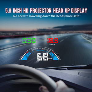 """Image 5 - 5.8"""" Car styling S7 HUD GPS Speedometer OBD2 Car Head Up Display Vehicle Speeding Warning Fuel Consumption Water Temperature RPM"""