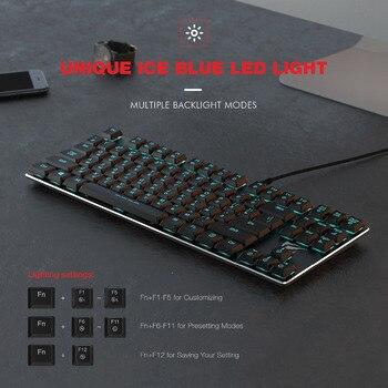 HAVIT Mechanical Keyboard 87 Keys Ultra Low Axis Extra-Thin Mini Gaming Keyboard Blue Switche for PC/Laptop HV-KB390L(Russian) 6