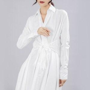 Image 4 - [Eem] 2020 yeni bahar sonbahar yaka uzun kollu düğme bandaj dikiş pileli düzensiz gömlek elbise kadın moda gelgit JY778