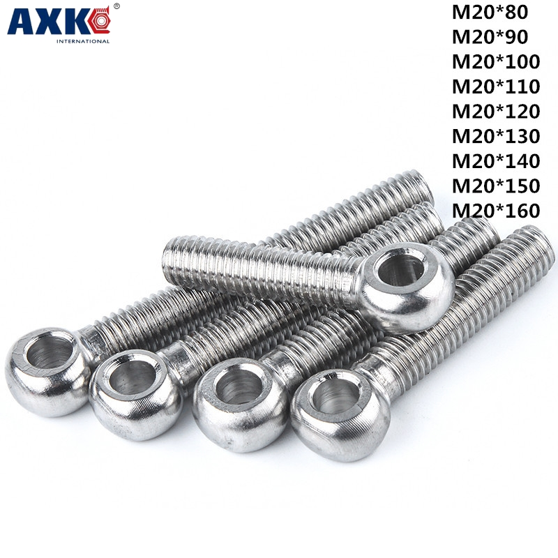 AXK 1pcs 304 stainless steel joint bolts Slip knot screw Fish eye bolt Round head with hole screw M20*80-160mm