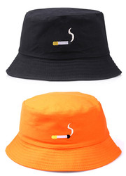 NO CHILL Cigarette Embroidery Fisherman Hat Hip Hop Lovers Flat Hat For Men Women Black Orange Color