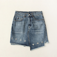 High Waist Eyelet Asymmetric Denim Mini Skirt Women Casual Novelty HIgh Street Style Hollow Out