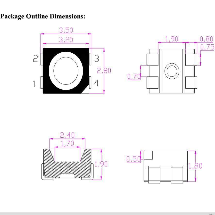 2000 Uds RGB LED diodos SMD 4-, 3528 SMD LED Panel RGB Diodo Multicolor de 4 pines de 3528 LED 1210 RGB Diodo anodo común
