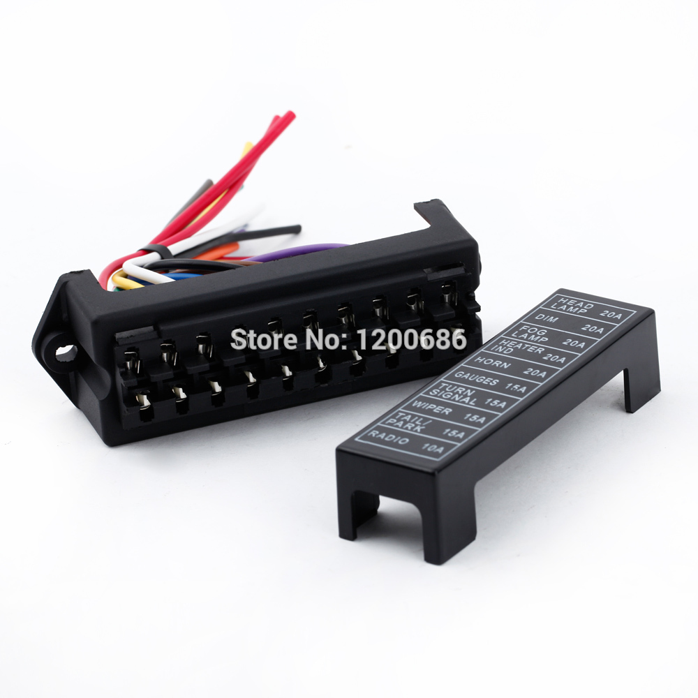 10 Way Blade Fuse Circuit Box DC 12v 24v 32V Circuit Car Trailer Auto Fuse Box Block Holder ATC ATO 2-input 10-ouput Wire blade style fuse holder for nissan mazda odyssey racing car black dc 12v