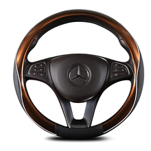 KKYSYELVA  New car steering wheel cover, leather Anti-Slip suitable for 38CM large supp