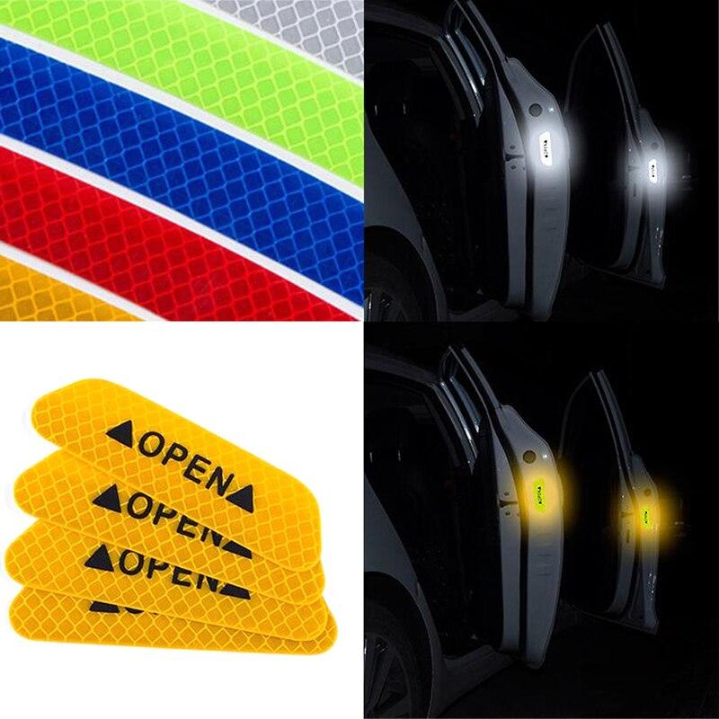 4x Safety Reflective Warning Strip Car Bumper Reflector Stickers Decals Blue