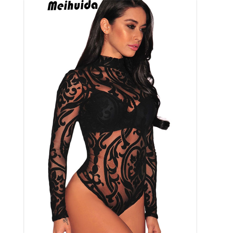Women Long Sleeve Stretch Bodysuit Lace Sheer Leotard Body Shirt Party Lace Turtle Neck Top Mesh Nightwear Skinny Bodysuit