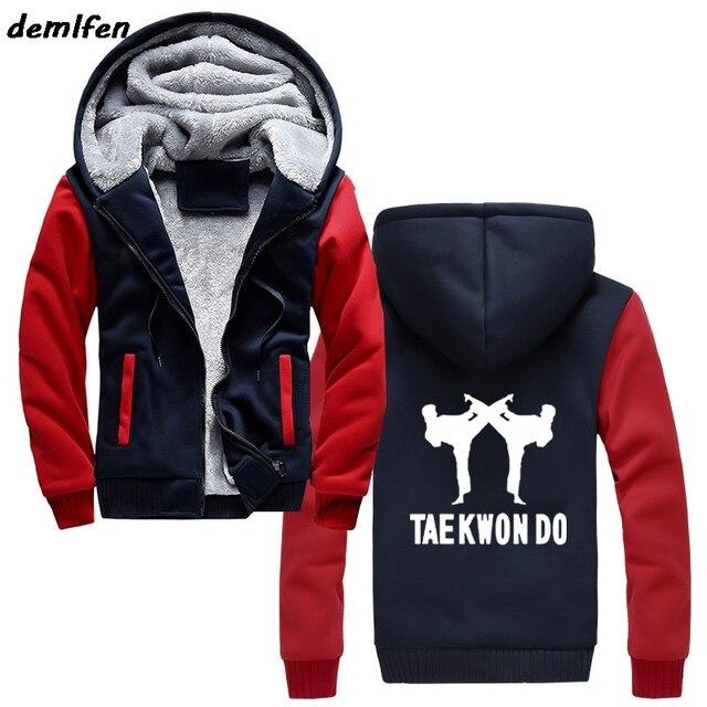 Nieuwe Tae Kwon Taekwondo Hoodie Mannen Vechtsporten Jas Casual Mannelijke Dikker Rits Hoody Sweatshirt Streetwear