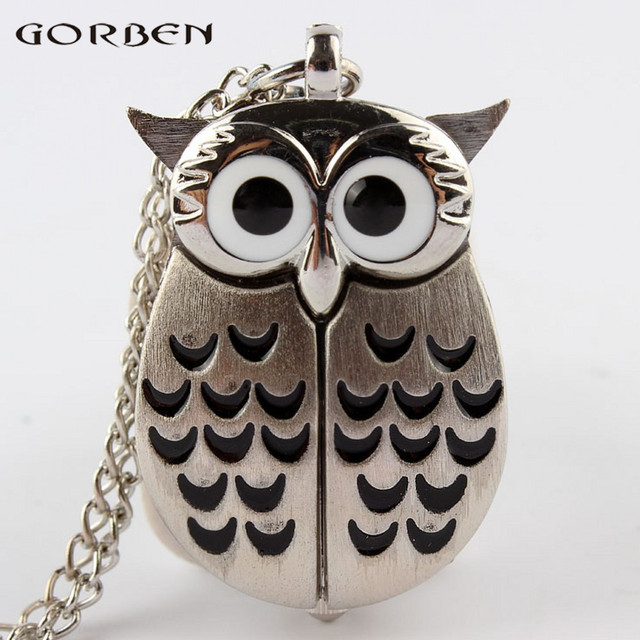 2017 special design 2 color owl shape quartz pocket watch mini size with long ch
