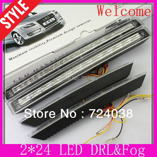 2PCS E4 white and yellow Car Daytime Running Light DRL accessories car styling parking source for chevrolet cruze for ford