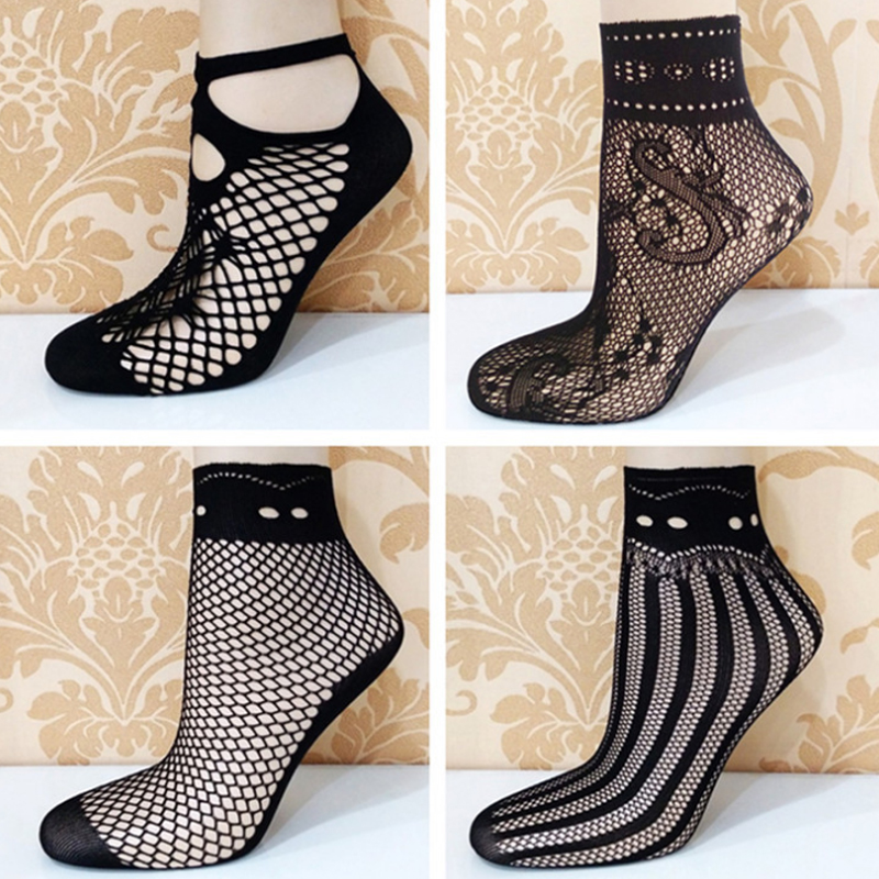 Fashion Women Thin Ripple Socks Fashion Sexy Diverse Novelty Black Mesh Lace Fishnet Hollow Out Women Soft Tattoo Short Socks