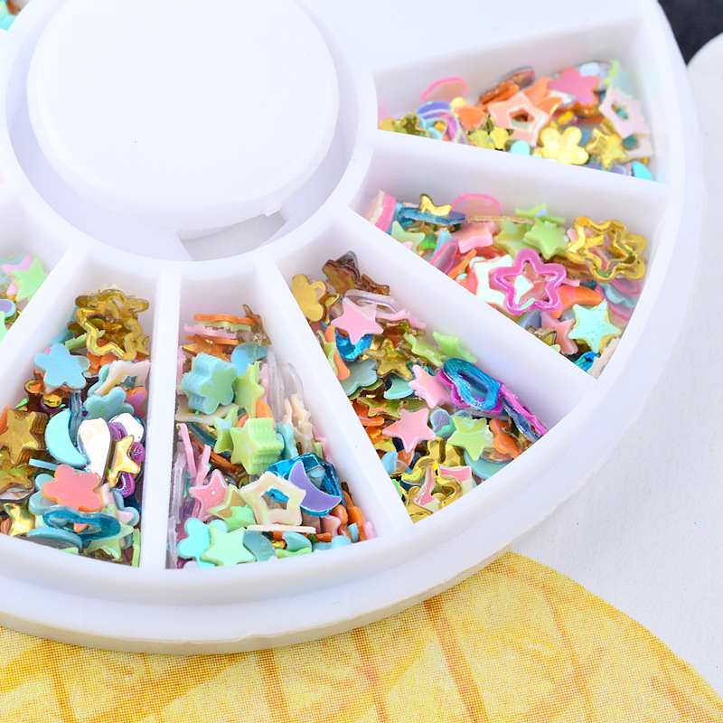 1 Box Mixed Color Moon Sart Paillette Rhinestones Nail Art Wheel DIY Nail Stickers Tips Decoration 3D Manicure tools Accessories in Rhinestones Decorations from Beauty Health